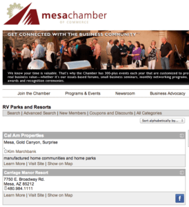 "An example of a Chamber of Commerce with an ""RV Parks and Resorts"" Page Source: mesachamber.org"